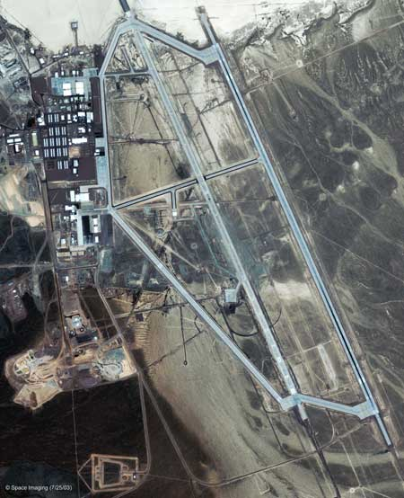 Satellite image of area 51 shows dry groom lake just northeast of the